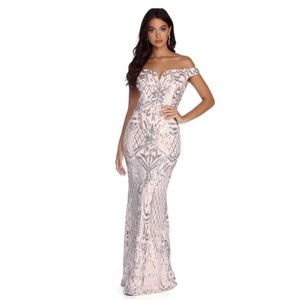 windsor champagne and silver sequin prom dress